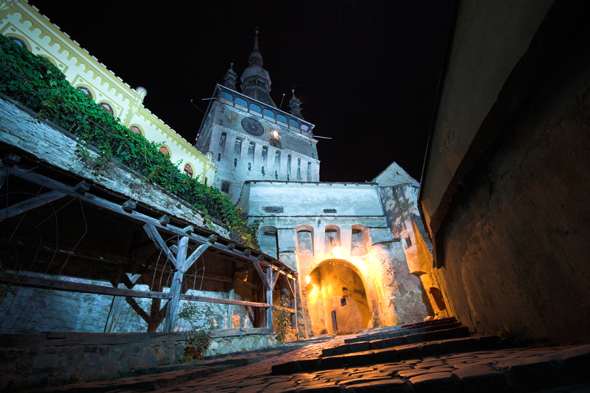 Sighisoara Clock Tower and Citadel night Romania. Image shot 2008. Exact date unknown.